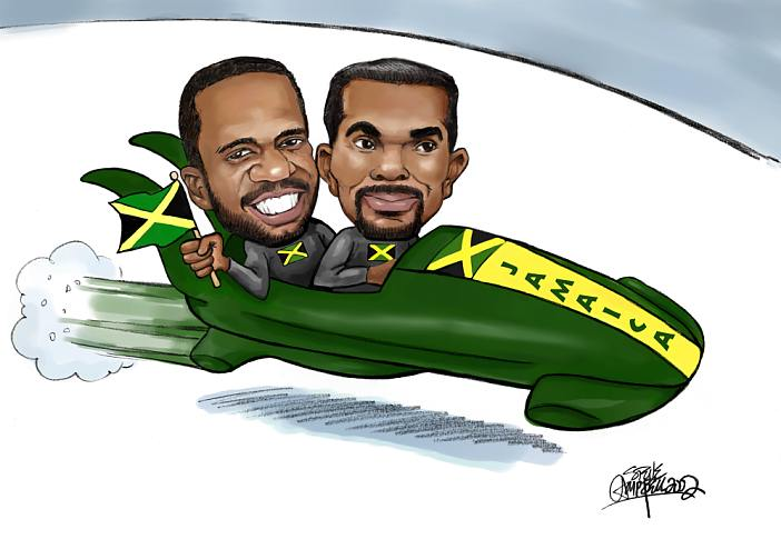 "Jamaican Bobsled Team needed a ""glossy"" to autograph for fans!"