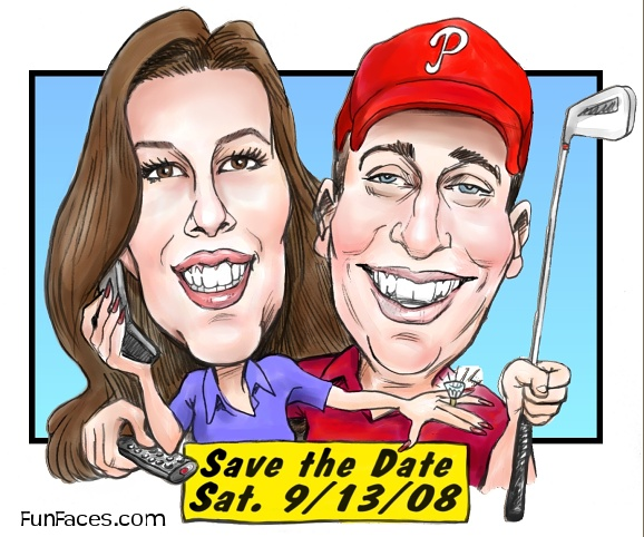 Color Head Only Couple Caricature