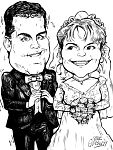 B/w full body couple caricature