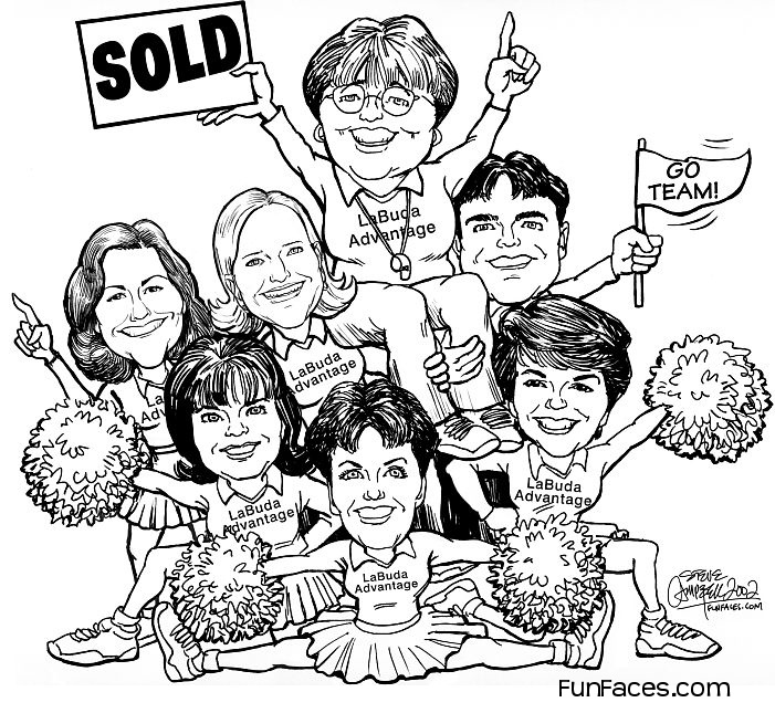 B/w full body group caricature