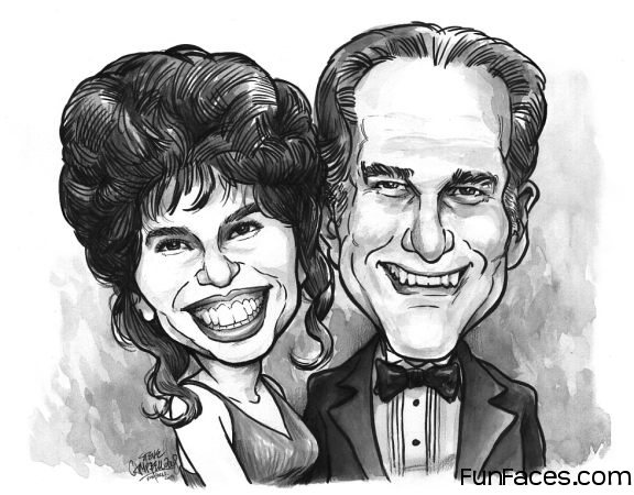 B/w Couple Head Only Caricature