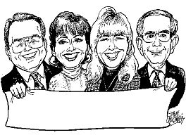 B/w head only group caricature
